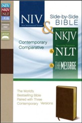 Contemporary Comparative Side-by-Side Bible: NIV/NKJV/NLT/The  Message, Bonded leather, burgundy, Slightly Imperfect