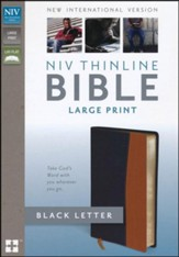 NIV Thinline Bible, Large Print, Italian Duo-Tone, Black/Tan