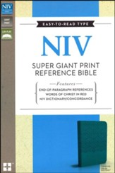 NIV Super Giant Print Reference Bible, Italian Duo-Tone, Turquoise - Slightly Imperfect