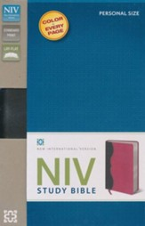 NIV Study Bible, Personal Size, Imitation Leather, Charcoal Pink - Imperfectly Imprinted Bibles