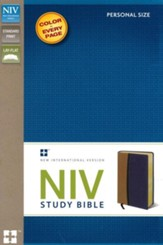NIV Study Bible, Personal Size, Imitation Leather, Tan Blue - Slightly Imperfect