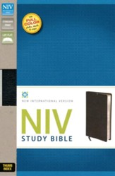 NIV Study Bible, Genuine Cowhide Leather, Black, Indexed - Imperfectly Imprinted Bibles