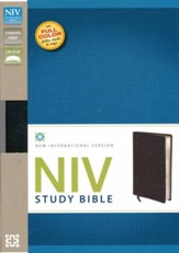 NIV Study Bible, Bonded Leather, Black, Red Letter Edition
