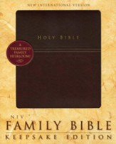 NIV Family Bible, Keepsake Edition, Italian Duo-Tone, Burgundy - Slightly Imperfect