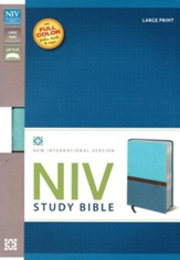 NIV Study Bible, Large Print, Imitation Leather, Turquoise Caribbean Blue - Slightly Imperfect