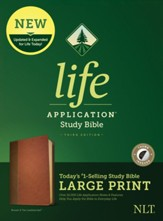 NLT Life Application Large-Print Study Bible, Third Edition--soft leather-look, brown/tan (indexed)