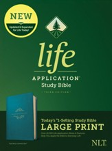 NLT Life Application Large-Print  Study Bible, Third Edition--soft leather-look, teal