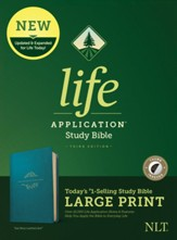 NLT Life Application Large-Print Study Bible, Third Edition--soft leather-look, teal (indexed)