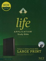 NLT Life Application Large-Print Study Bible, Third Edition--soft leather-look, black/onyx (indexed)
