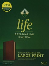 NLT Life Application Large-Print Study Bible, Third Edition--soft leather-look, brown/tan (red letter)
