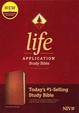 NIV Life Application Study Bible, Third Edition--soft leather-look, brown/tan