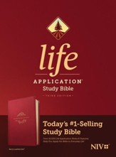 NIV Life Application Study Bible, Third Edition--soft leather-look, berry