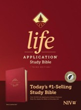 NIV Life Application Study Bible, Third Edition--soft leather-look, berry (indexed)