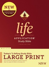 NIV Life Application Large-Print Study Bible, Third Edition--hardcover, red letter
