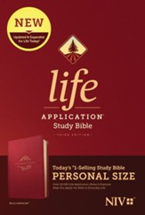 NIV Life Application Personal-Size  Study Bible, Third Edition--soft leather-look, berry - Imperfectly Imprinted Bibles