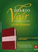 NTV Biblia de estudio del diario vivir, letra grande, NTV Large-Print Life Application Study Bible--soft leather-look, burgundy/rose