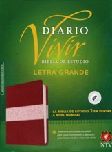 NTV Biblia de estudio del diario vivir, letra grande, NTV Large-Print Life Application Study Bible--soft leather-look, burgundy/rose (indexed) - Slightly Imperfect