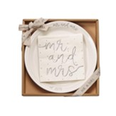 Mr And Mrs Dessert Set, Plate With 12 Paper, Silver Foiled Napkins