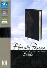 NIV Flora and Fauna Collection Bible, Compact, Italian Duo-Tone, Black with Pink Metallic Flowers