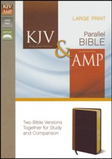 KJV and Amplified Parallel Bible, Italian Duo-Tone, Camel/Rich Red, Large Print