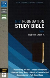 NIV Foundation Study Bible--soft leather-look, earth brown (indexed) - Slightly Imperfect