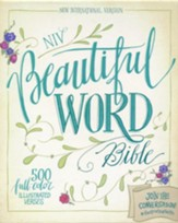 NIV Beautiful Word Bible--soft leather-look, taupe/cranberry - Slightly Imperfect