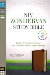 NIV Zondervan Study Bible, Imitation Leather, Tan/Brown Indexed - Imperfectly Imprinted Bibles