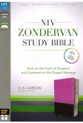 NIV Zondervan Study Bible, Imitation Leather, Pink/Brown Indexed - Imperfectly Imprinted Bibles