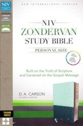 NIV Zondervan Study Bible, Personal Size, Imitation Leather, light blue/turquoise - indexed - Imperfectly Imprinted Bibles