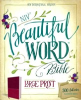 NIV Beautiful Word Large-Print Bible--soft leather-look, cranberry