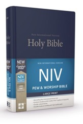 NIV Large-Print Pew and Worship  Bible--hardcover, blue