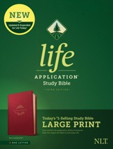 NLT Large-Print Life Application Study Bible, Third Edition--soft leather-look, berry - Slightly Imperfect