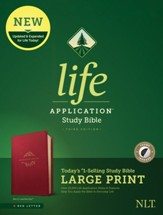 NLT Large-Print Life Application Study Bible, Third Edition--soft leather-look, berry (indexed) - Slightly Imperfect