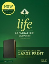 NLT Large-Print Life Application Study Bible, Third Edition--genuine leather, black