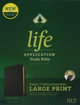 NLT Large-Print Life Application Study Bible, Third Edition--genuine leather, black (indexed) - Slightly Imperfect