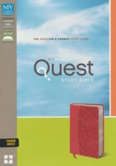 NIV, Quest Study Bible, Imitation Leather, Pink, Thumb Indexed