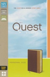 NIV, Quest Study Bible, Personal Size, Imitation Leather, Burgundy and Tan, Thumb Indexed