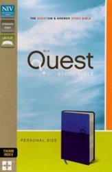 NIV, Quest Study Bible, Personal Size, Imitation Leather, Blue, Thumb Indexed