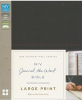 NIV, Journal the Word Bible, Large Print, Imitation Leather, Black