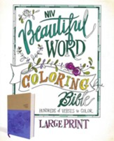 NIV, Beautiful Word Coloring Bible, Large Print, Imitation Leather, Purple and Tan - Slightly Imperfect
