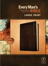 NLT Every Man's Large-Print Bible,  Deluxe Explorer Edition--soft leather-look, rustic brown