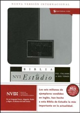 Biblia de Estudio NVI, Piel Italiana Negro/Gris  (NVI Study Bible, Duo-Tone) - Imperfectly Imprinted Bibles