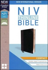 NIV Thinline Bible Compact Black and Gray, Imitation Leather