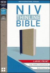 NIV Thinline Bible Large Print Blue and Tan, Hardcover