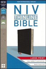 NIV Thinline Bible Large Print Black, Bonded Leather - Imperfectly Imprinted Bibles