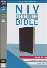 NIV Thinline Bible Large Print Black, Bonded Leather, Indexed - Imperfectly Imprinted Bibles