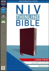 NIV Thinline Bible Large Print Burgundy, Bonded Leather - Imperfectly Imprinted Bibles