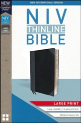 NIV Thinline Bible Large Print Black and Gray, Imitation Leather - Imperfectly Imprinted Bibles