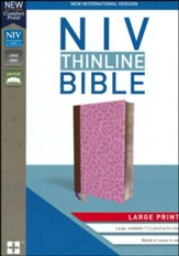 NIV Thinline Bible Large Print Pink, Imitation Leather - Slightly Imperfect