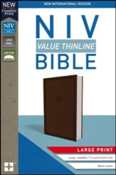 NIV Value Thinline Bible Large Print Brown, Imitation Leather